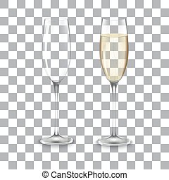 full and empty glass of champagne isolated on a transparent...