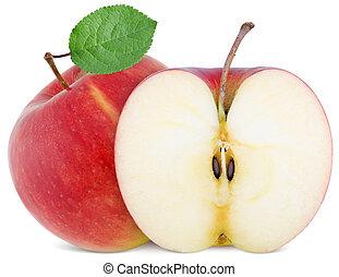 full apple and cut slice