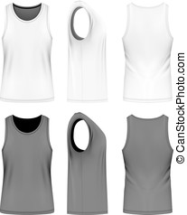 Full back singlet, front, back and side views. Fully...