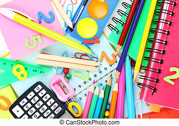 Full background of school supplies