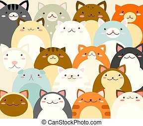 Full background with cute cartoon cats of different color