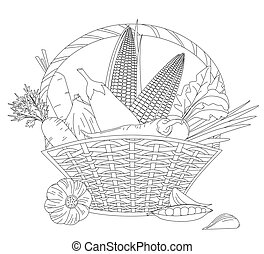 full basket of fresh vegetables for your coloring book