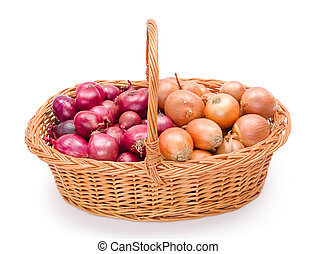 Full basket with onions crop