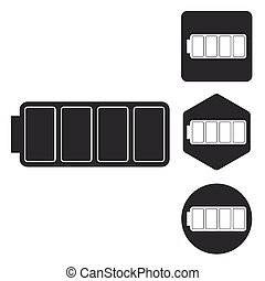 Full battery icon set, monochrome
