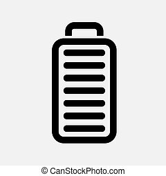 Full battery icon. Solid and flat color style vector...