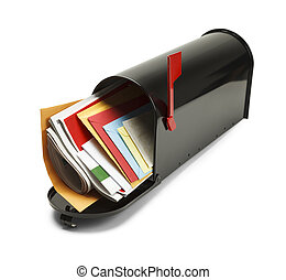 Full Black Mailbox - Open Black Mailbox Filled with Mail ...