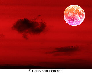 full blood moon in the red night sky