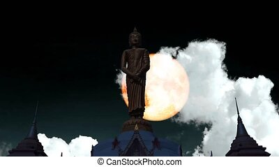 Full blood moon rise on the night sky and white cloud moving pass buddha standing