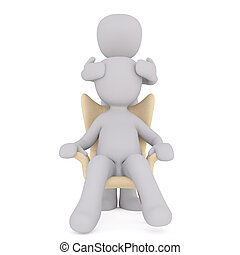 3d toon giving person in chair head massage