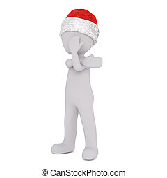 3d toon in Santa hat covering eye with hand