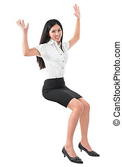 Full body arms raised young Asian woman
