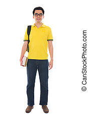 Full body Asian adult student in casual wear with school bag car