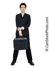 Full body Asian businessman