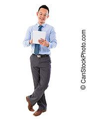 Asian businessman using tablet-pc