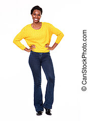 Full body confident happy black woman standing on white background