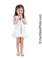 Asian girl making a wish - Full body East Asian girl making...