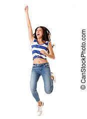 Full body joyful young asian woman jumping in the air against isolated white background