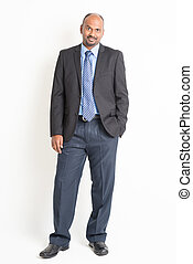 Full body mature Indian businessman - Portrait of full body...