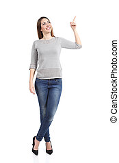 Full body of a standing casual woman pointing at side