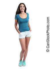 Full body of a standing pretty teenager girl