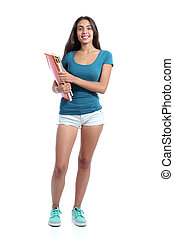 Full body of a standing student teen girl