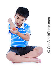 Full body of asian child injured at elbow. Isolated on white...