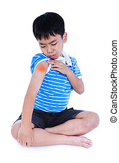 Full body of asian child injured at shoulder. Isolated on ...