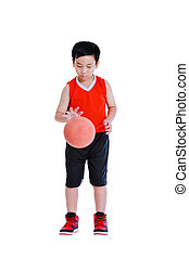 Full body of young asian boy playing with a basketball. Isolated on white background.