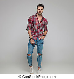 full body picture of a young sexy casual man