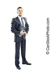 Full body portrait of a young business man with a black clipboard over white background
