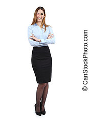 Full body portrait of a young happy standing beautiful business woman