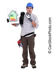 full-body portrait of electrician with loudspeaker