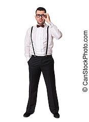 full body portrait of fashionable man