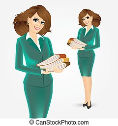 business woman with three folders