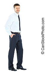 Full body portrait of happy smiling young business man,...