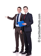 two young business men presenting