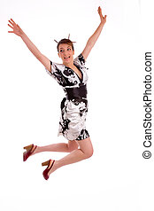 full body pose of Japanese woman jumping high