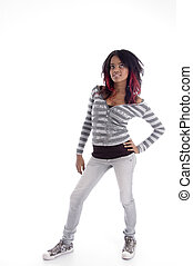 full body pose of punk teenager on an isolated white...