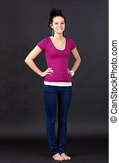 Full body shot of casual young woman