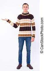 Full body shot of man showing something ready for winter