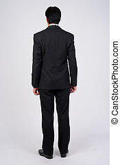 Full body shot rear view of mature businessman