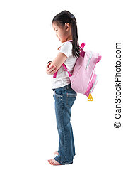 Full body side profile view Asian child elementary student...