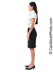 Full body side view of beautiful Asian young woman
