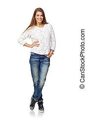 Full body smiling woman - Full body portrait of happy...