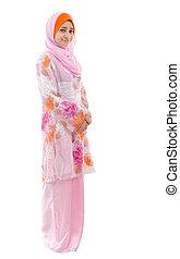 Full body Southeast Asian Muslim girl