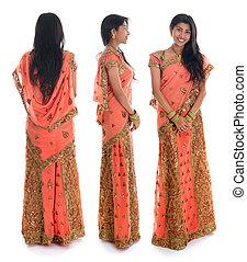 Indian woman - Full body traditional Indian woman in sari ...