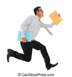 Asian businessman in hurry running - Full body young Asian...