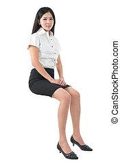 Full body young Asian woman sitting