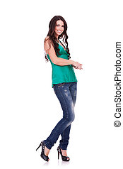 Full body young woman in casual clothes
