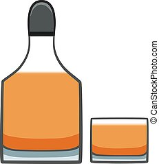 Full bottle and glass with whiskey isolated